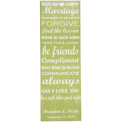 """Personalized Rules To A Happy Marriage 9"""" x 27"""" Canvas"""