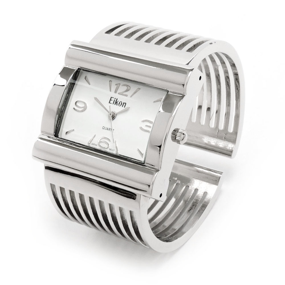 Silver Metal Grill Band Large Face Geneva Women's Wide Bangle Cuff Watch