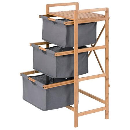 Costway 3 Drawer Bamboo Shelf Dresser Sliding Cloth Fabric Storage Bins Chest Drawers