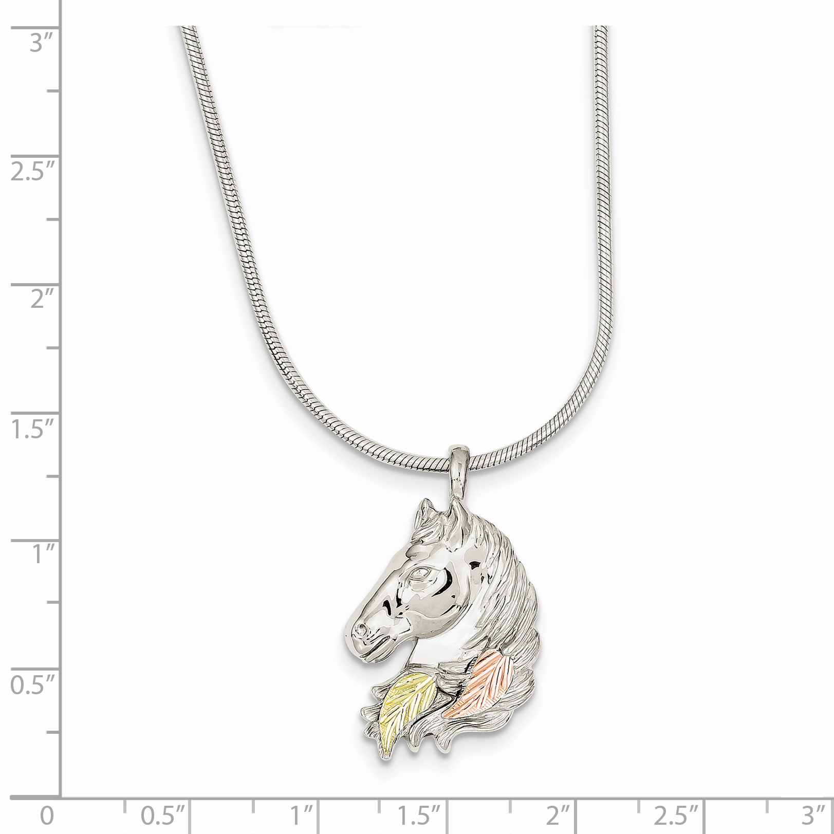 925 Sterling Silver 12k Lg Horsehead Chain Necklace Pendant Charm Animals/insect Fine Jewelry Gifts For Women For Her - image 1 of 2