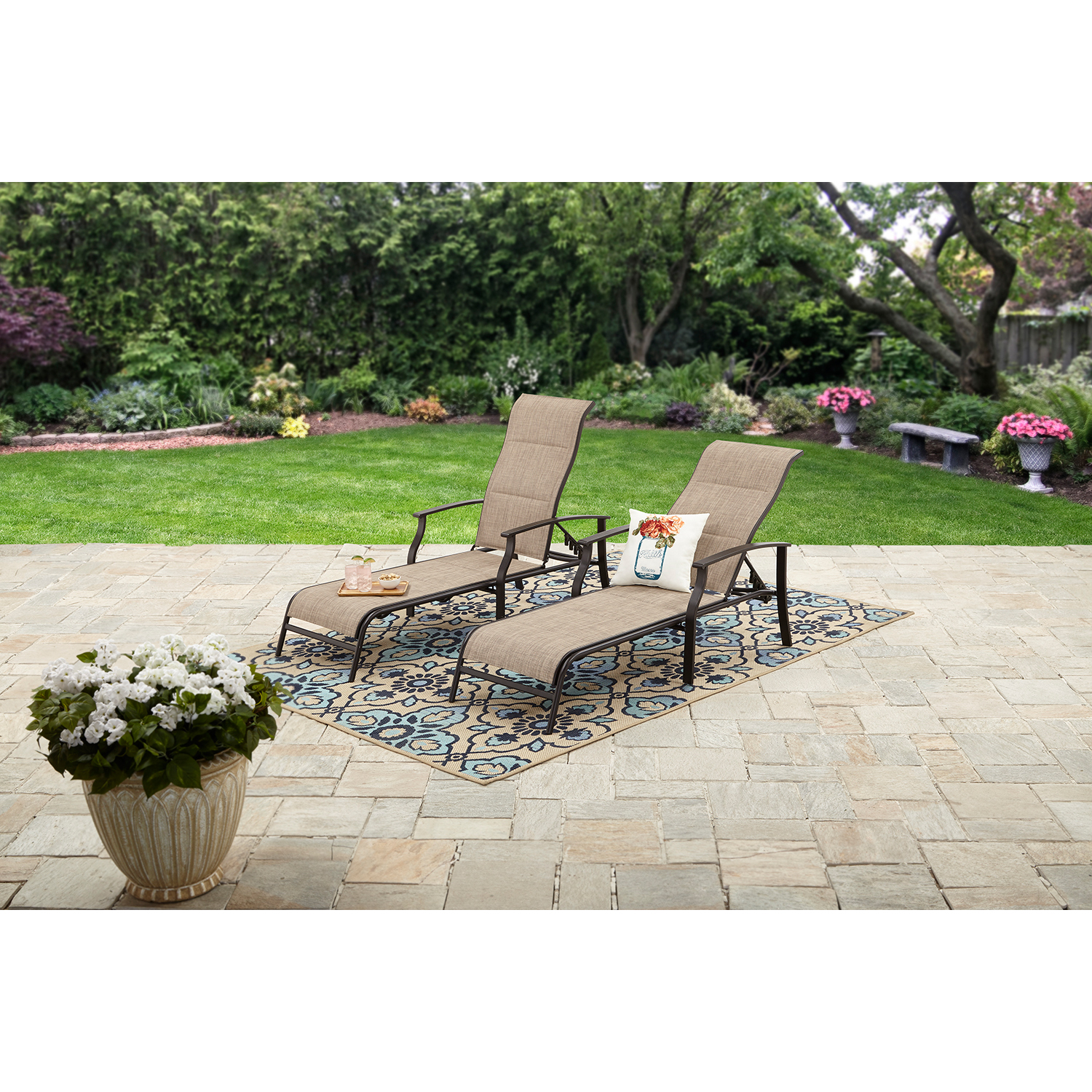 Mainstays Highland Knolls Outdoor Chaise Lounges, Set of 2
