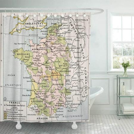 Classique Bath - KSADK Political Map of France in 1328 by Paul Vidal De Lablache Atlas Classique Shower Curtain 66x72 inch