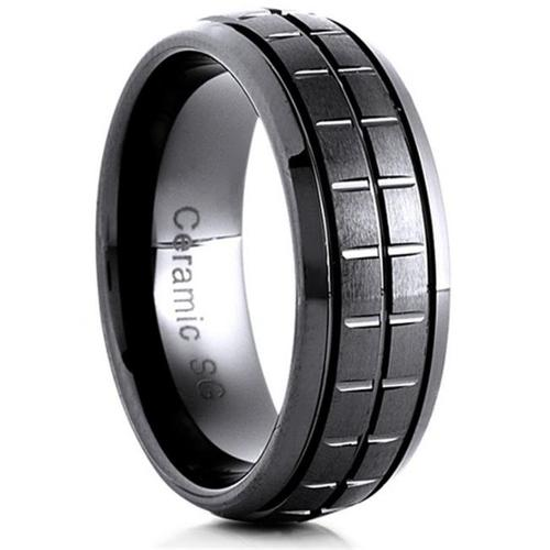 Doma Jewellery SSCER01211.5 Ceramic Ring 8 mm. Wide Satin Center, Size 11.5