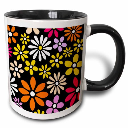3dRose Retro Flower Pattern - White Yellow and Orange Daisy Flowers on Black - 60s 70s hippy hippie daisies - Two Tone Black Mug, 11-ounce - 60s Flower Child