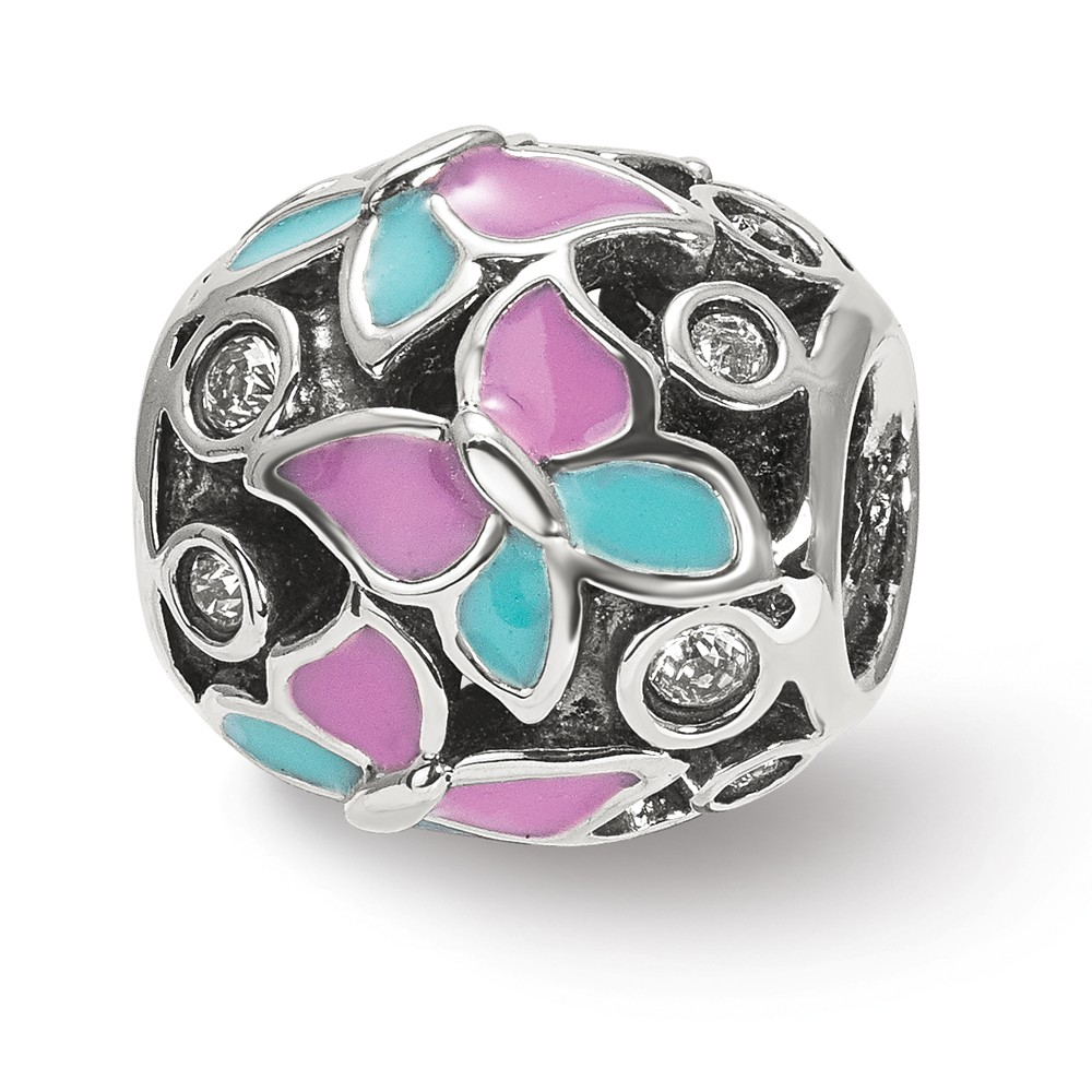 Solid 925 Sterling Silver Purple Flower Floral Enameled Bead Small Charm Tiny Pendant 10mm