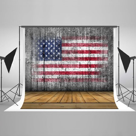 GreenDecor Polyester Fabric Backdrop 4th of July American Flag Independence Day 7x5ft Wood Floor Photo Booth Backdrop for Photographer - Backdrop For Photo Booth