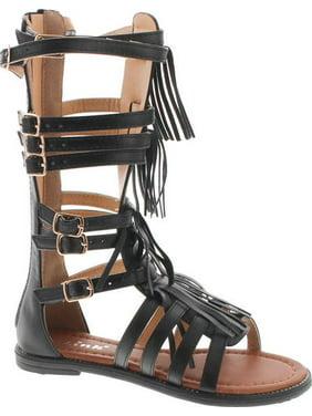 306218727cc9 Product Image Link Savannah 3K Little Girls Strappy Buckled Fringe  Gladiator Flat Sandals
