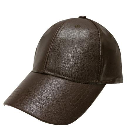 - City Hunter Lc200 Faux Leather Plain Baseball Cap Brown