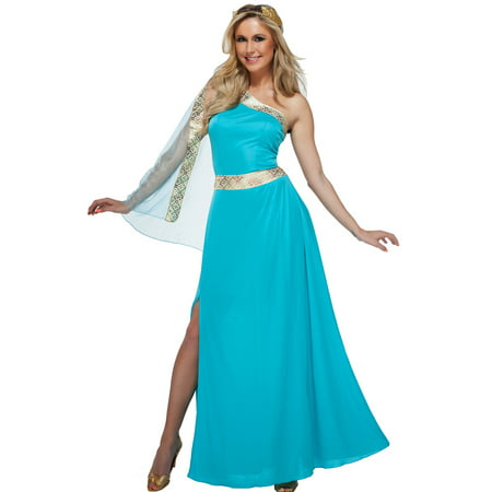 The Blue Goddess Womens Greek Grecian Roman Toga Halloween Costume (Goddess Blue)