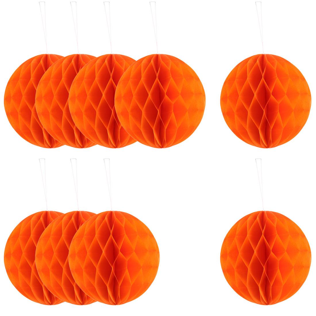 Festival Paper DIY Hanging Decor Honeycomb Ball Lantern Orange 8 Inches 10pcs