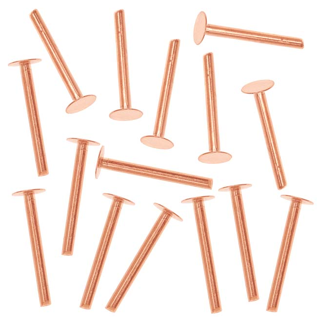 Copper 1/2 Inch Nail Head Rivets for Leather 1.3mm Diameter, 20 Pieces
