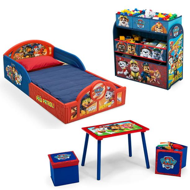 Nick Jr. PAW Patrol 5-Piece Toddler Bedroom Set by Delta Children - Includes Toddler Bed, Table & Ottoman Set, Multi-Bin Toy Organizer