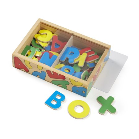 Melissa & Doug 52 Wooden Alphabet Magnets in a Box (Developmental Toys, Sturdy Wooden Construction, 52 Pieces, 7.8″ H × 5.45″ W × 1.85″ L)