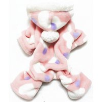 Pet Dog Soft Warm Fleece Pajamas Hoody Jumpsuit Puppy Heart Print Apparel