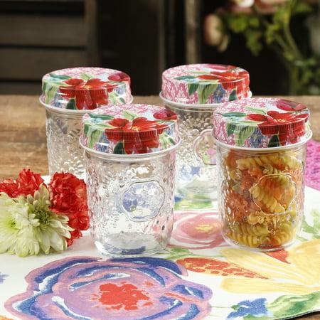 The Pioneer Woman Spring Bouquet 8oz Storage Jars Set Of