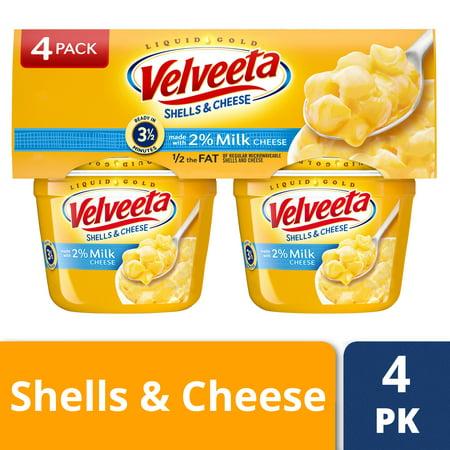 (2 Pack) Velveeta Shells & Cheese Made with 2% Milk Cheese, 4 - 2.19 oz