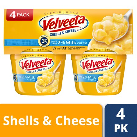 (2 Pack) Velveeta Shells & Cheese Made with 2% Milk Cheese, 4 - 2.19 oz (Best Way To Freeze Mozzarella Cheese)