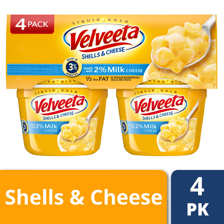 (2 Pack) Velveeta Shells & Cheese Made with 2% Milk Cheese, 4 - 2.19 oz Sleeve