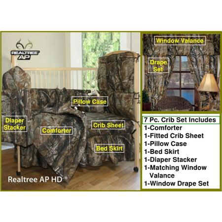Realtree All Purpose Camo 7 Piece Baby Crib   Window Treatment Set