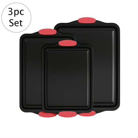"Baking Pans-3PC. Nonstick Cookie Sheet Set, Silicone Handles-17.75""x12"", 15.75""x10"" Jelly Roll, 13.5""x9"" Quarter Size-Home Bakeware by Classic Cuisine ()"