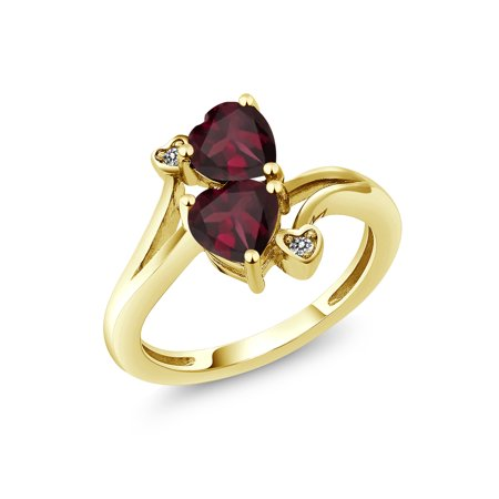 1.47 Ct Heart Shape Red Rhodolite Garnet 18K Yellow Gold Plated Silver Ring ()