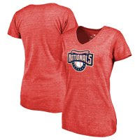 Washington Nationals Fanatics Branded Women's Cooperstown Collection Huntington Tri-Blend V-Neck T-Shirt - Red