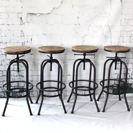 Swell Ikayaa Industrial Style Height Adjustable Swivel Bar Stool Natural Pinewood Top Kitchen Dining Breakfast Chair Squirreltailoven Fun Painted Chair Ideas Images Squirreltailovenorg