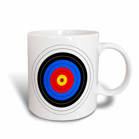 3dRose Target with red yellow black white and blue rings - archery, goal, sport, game, illustration, Ceramic Mug, 15-ounce