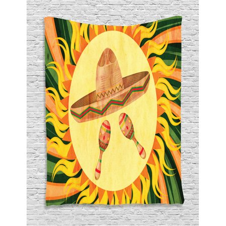Decorations In Mexico (Mexican Decorations Tapestry, Ethnic Hat and Maracas in the Centre of Sun Figure Hippie Style Boho Home, Wall Hanging for Bedroom Living Room Dorm Decor, 40W X 60L Inches, Multi,)