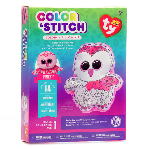 Ty Beanie Boo Color-In Pillow Kit, Pinky the Owl