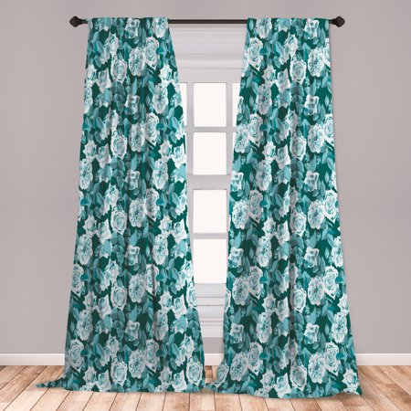 Floral Curtains 2 Panels Set, English Roses Flower Old Style in Aquatic Tones Rustic Illustration, Window Drapes for Living Room Bedroom, Dark Teal and Multicolor, by Ambesonne ()