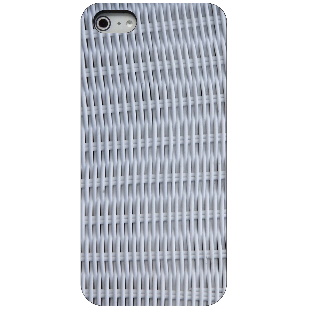 CUSTOM Black Hard Plastic Snap-On Case for Apple iPhone 5 / 5S / SE - White Wicker Painted