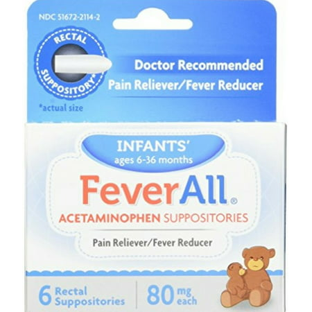 FeverAll Infants Acetaminophen Suppositories 6 Rectal Suppositories 80mg each (Pack of