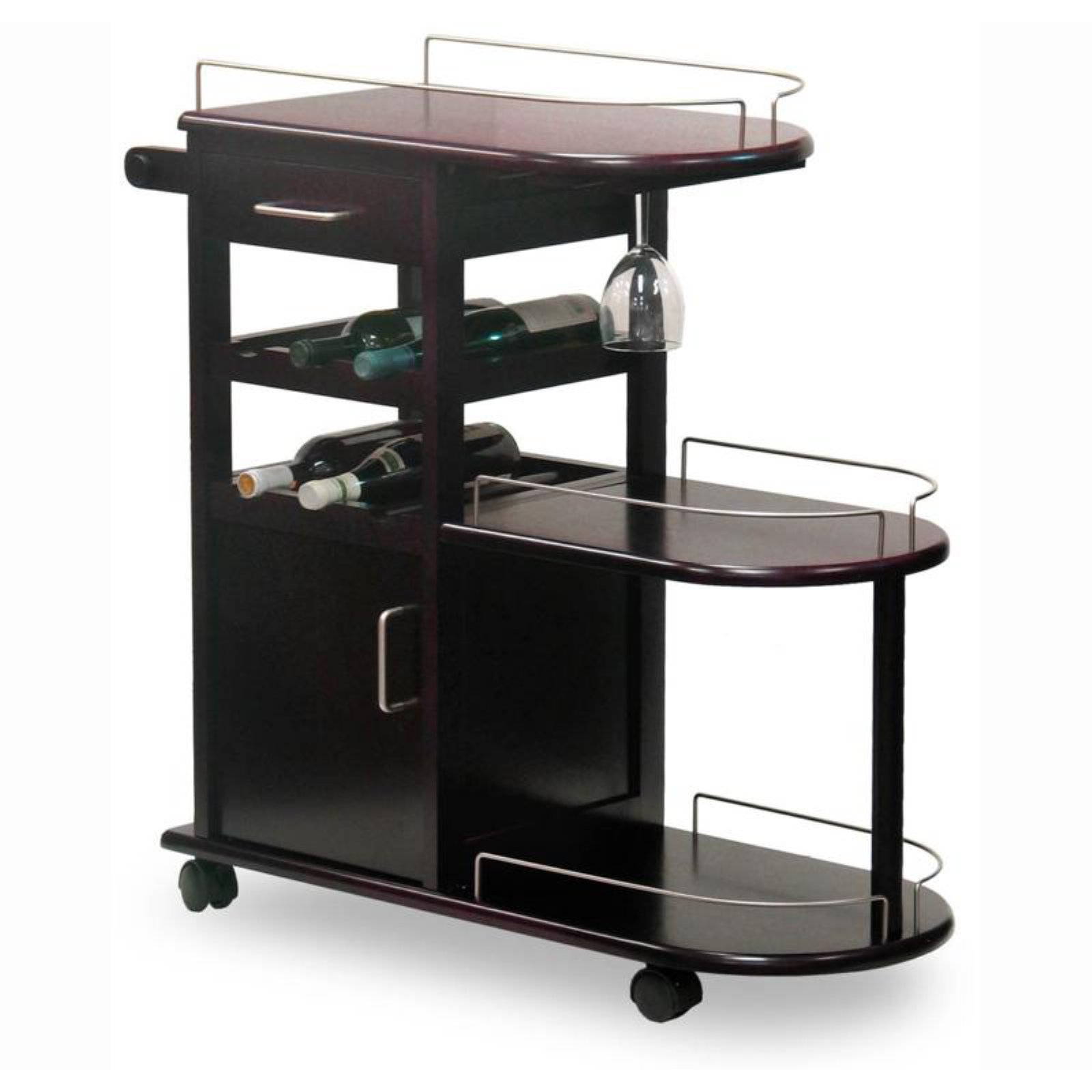 Winsome Wood Jimmy Entertainment Kitchen Cart with Wine Rack, Espresso Finish