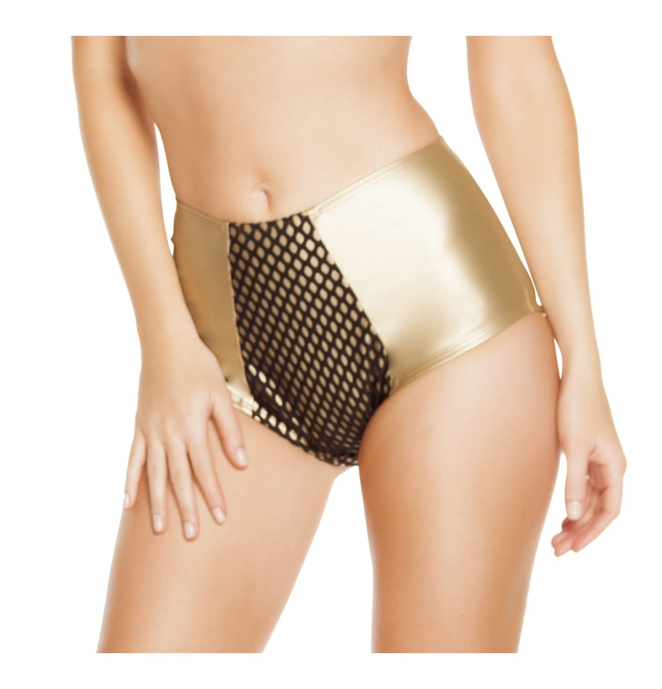 High-Waisted Leatherette Shorts With Fishnet Detail