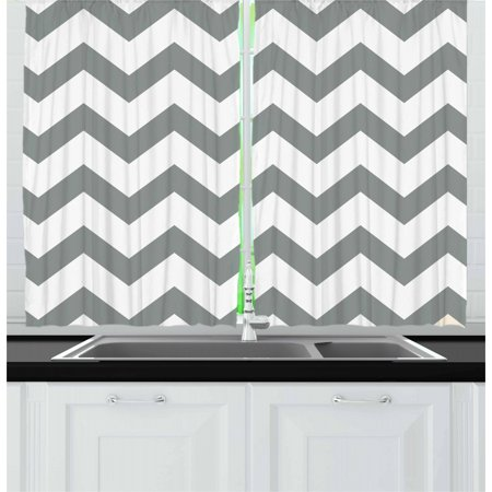 Grey Curtains 2 Panels Set, Grey and White Chevron Pattern Classic Geometrical Horizontal Zig Zag Stripes Retro, Window Drapes for Living Room Bedroom, 55W X 39L Inches, Grey White, by Ambesonne ()