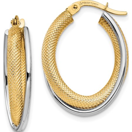 Leslie's 14K Two-tone Polished & Textured Hoop Earrings - image 3 de 3