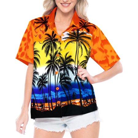 Palms Button - HAPPY BAY Women's Aloha  Beach Hawaiian button down casual Palm Tree Shirt