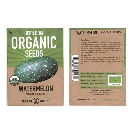 Watermelon Garden Seeds - Moon & Stars - 1 g Packet - Non-GMO, Organic, Heirloom Vegetable Gardening Fruit Melon (Organic 1 Packet)