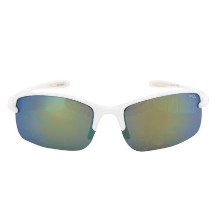 Fila Fila Sport FAC1043 109 Rectangular Wrap Sunglasses | White Frame | grey Mirror Lens