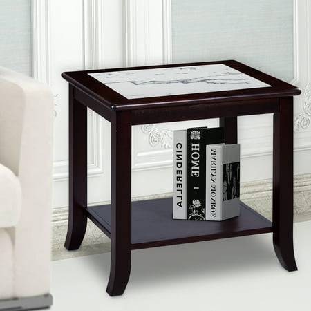 - GranRest Classic Calacatta Natural Marble End Table, shelf storage, Black/White, Solid Wood