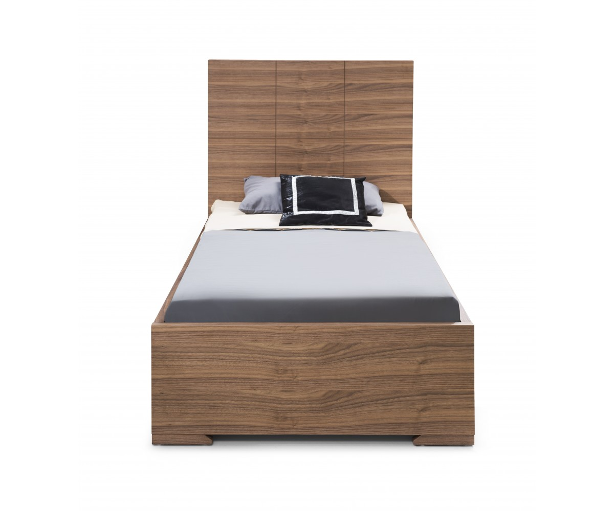 Anna Twin Trundle Bed with Dividers for Storage-Finish:Walnut by Whiteline Modern Living