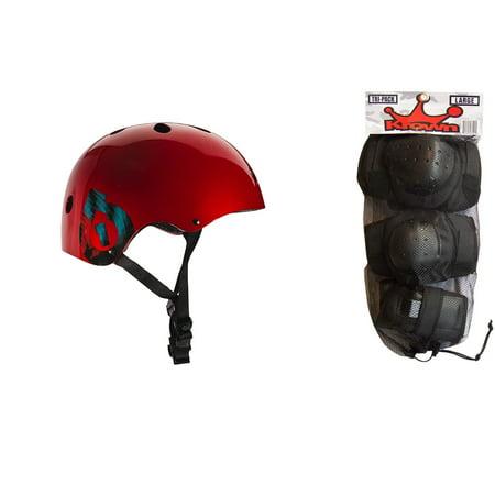 661 Dirt Lid Helmet - 661 Dirt Lid Plus Skate BMX Helmet Red CPSC with Knee Elbow Wrist Pads Medium