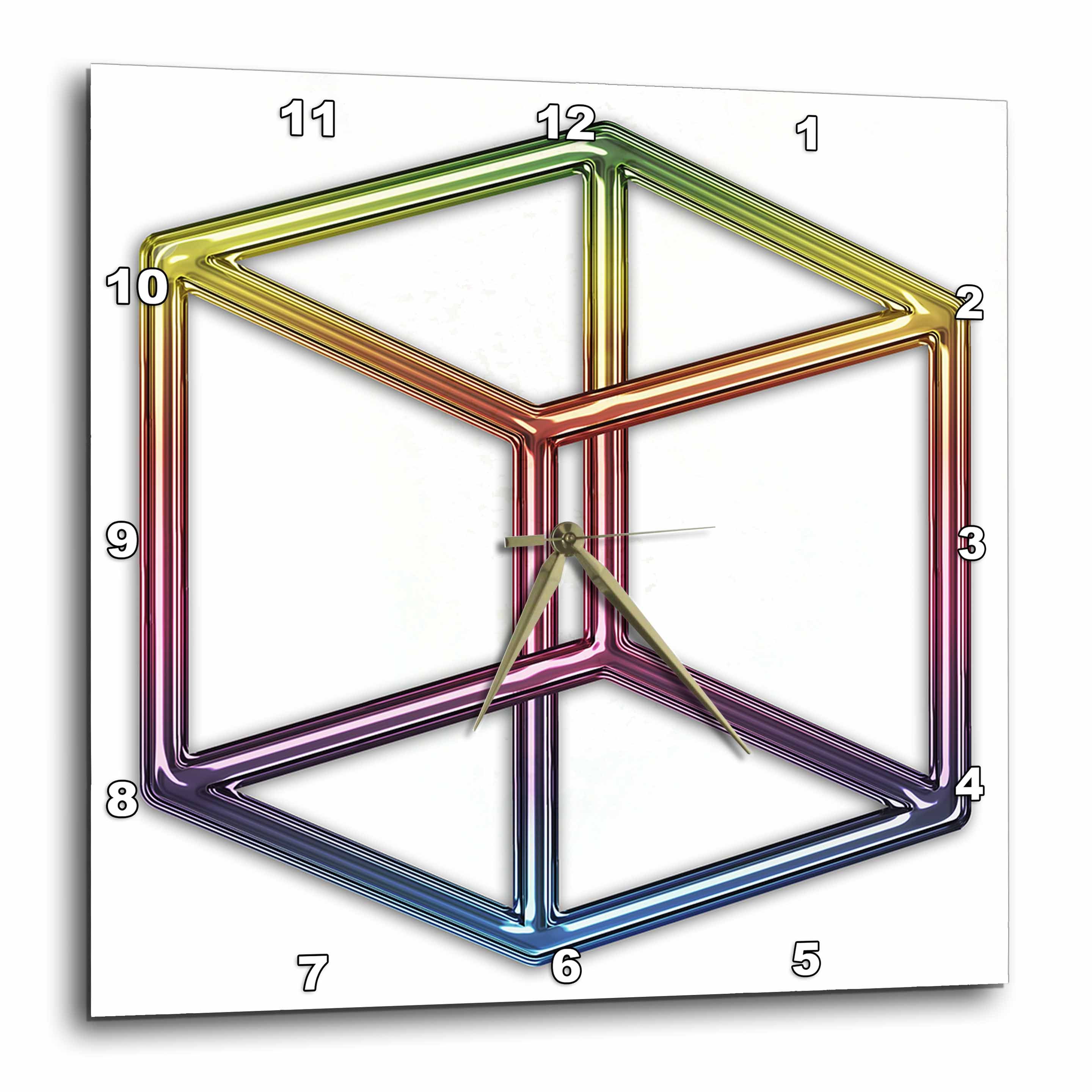 3dRose Escher s Impossible Cube rainbow on white background, Wall Clock, 10 by 10-inch