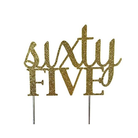 Handmade 65th Sixty-Fifth Birthday Cake Topper Decoration- sixty five - Made in USA with Double Sided Gold Glitter Stock - Sixty Birthday Decorations