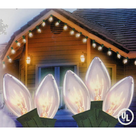 set of 25 clear c7 twinkle christmas lights green wire