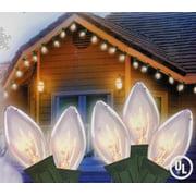set of 25 transparent clear random twinkling c7 christmas lights green wire - Random Twinkle Christmas Lights