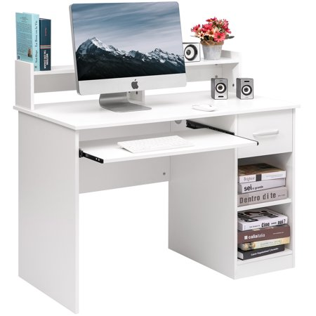 Merax Computer Desk Office Home Furniture Writing Desk with Hutch and Keyboard Tray, Multiple Colors - Legends Office Furniture