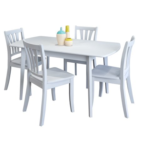 CorLiving Dillon 5 Piece Extendable White Wooden Dining Set ()