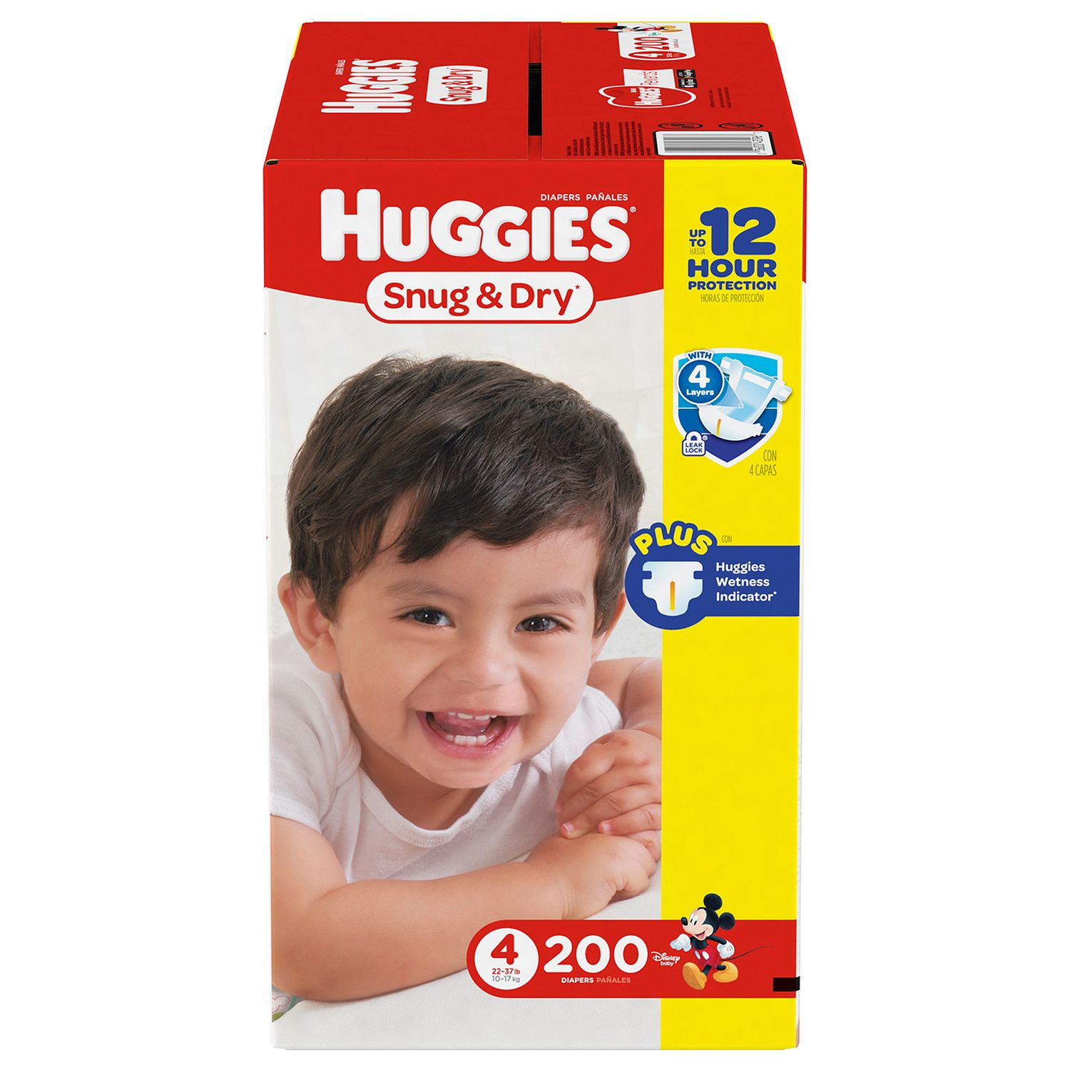 Huggies Snug & Dry Diapers - Diaper Size 4 - 200 Ct. ( Weight 22- 37 Lbs.) (Comfortable baby diaper)(Celebrating win of Houston Astros - Enjoy discounts)